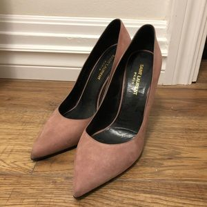 Saint Laurent YSL Dusty Rose Suede Heels